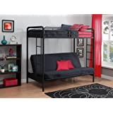 DHP Twin-Over-Futon Convertible Couch and Bed with Metal Frame and Ladder (Black)