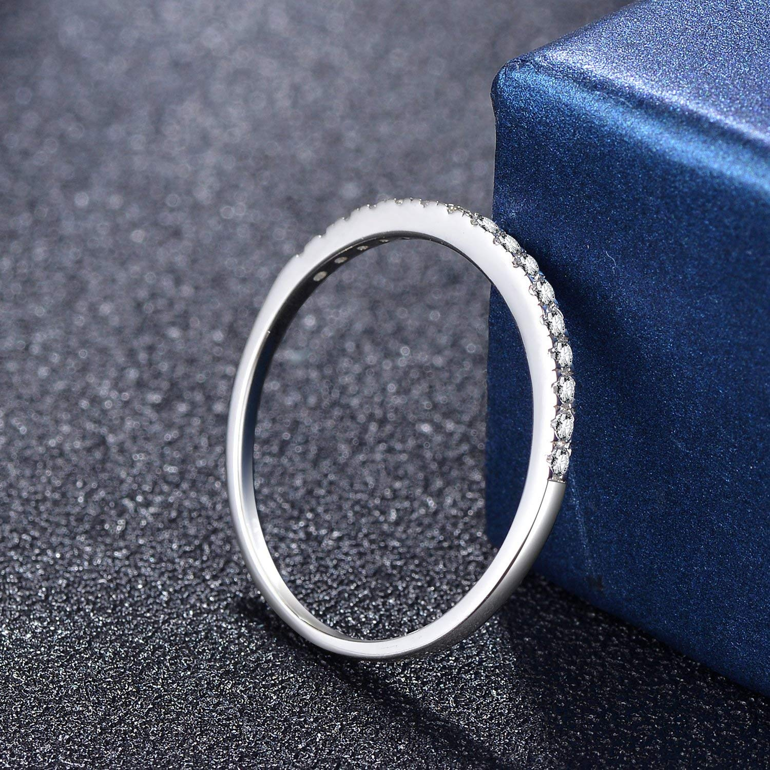 Eternity Love Womens Wedding Band Stackable Ring with Round Brilliant Cubic Zirconia Silver,4.5