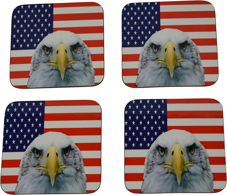American Eagle Flag Drink Coaster Set Gift United States of America Military Veteran Home Kitchen Bar Barware