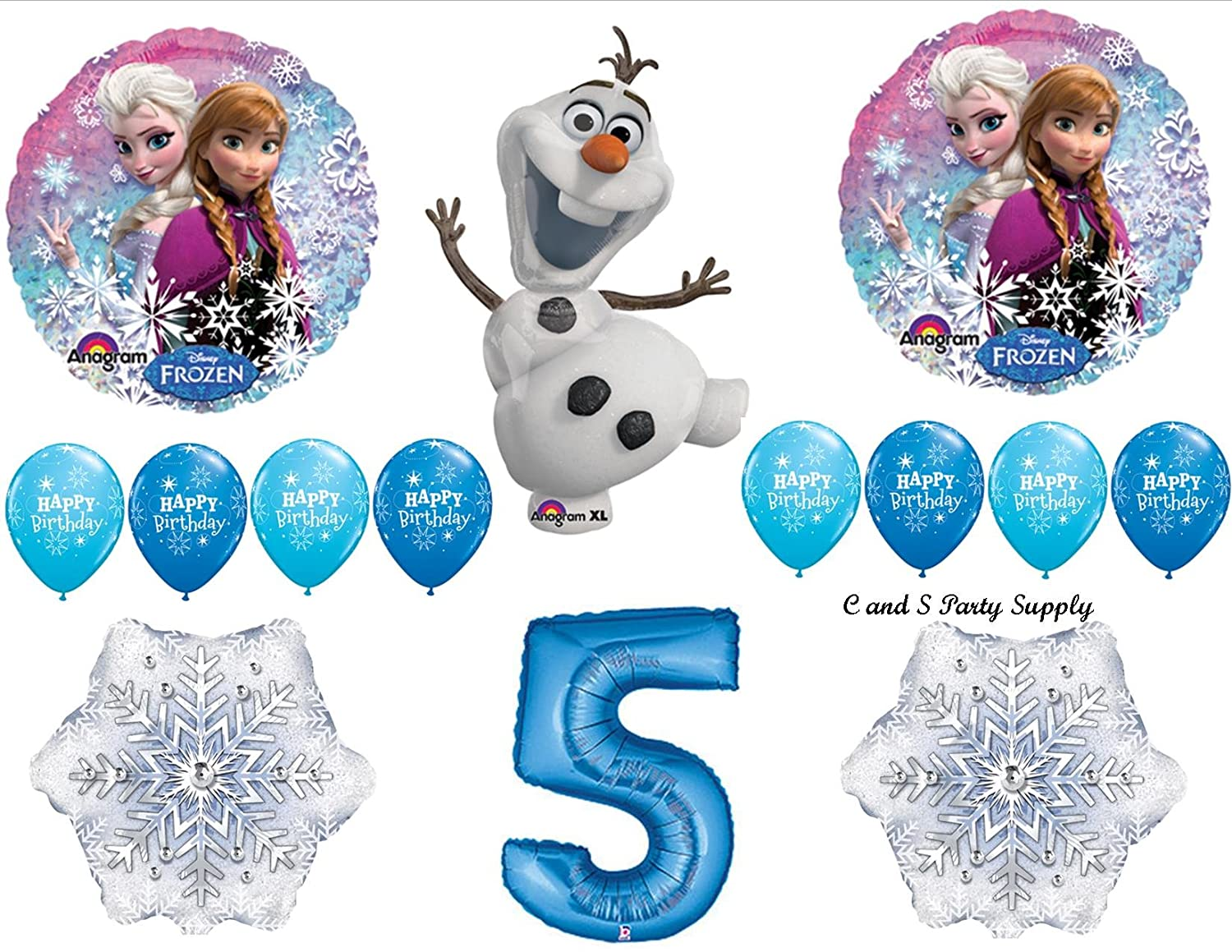 Frozen bluee 5th Disney Movie BIRTHDAY PARTY Balloons Decorations Supplies by Anagram