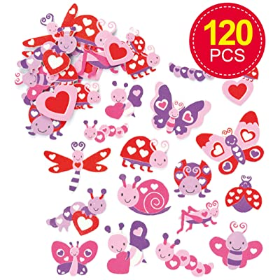 Baker Ross Love Bug Foam Stickers (Pack of 120) for Kids to Decorate Collage Cards & Craft: Toys & Games
