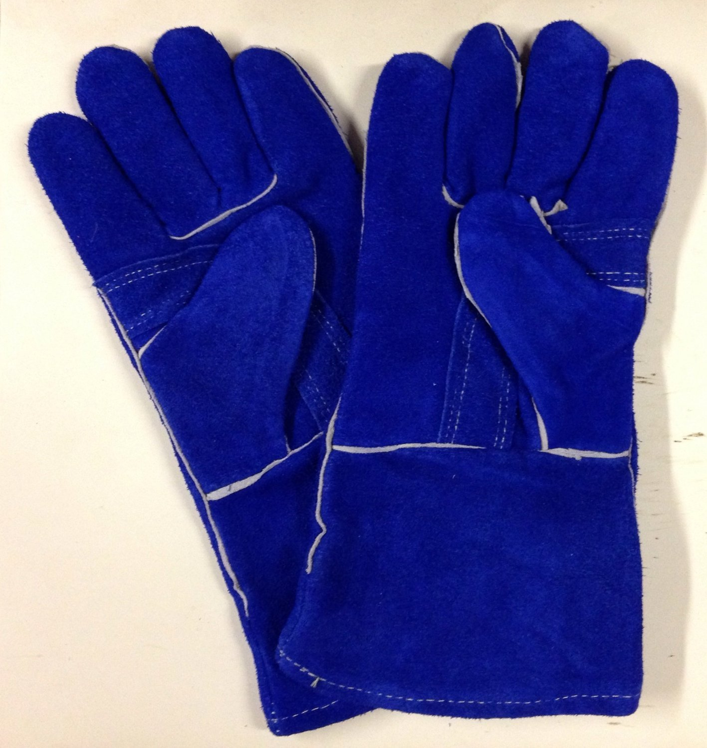 SomerFire Extra Thick Blue Heat Resistant Fireplace Stove Woodburner Gauntlet Fireside Gloves XL