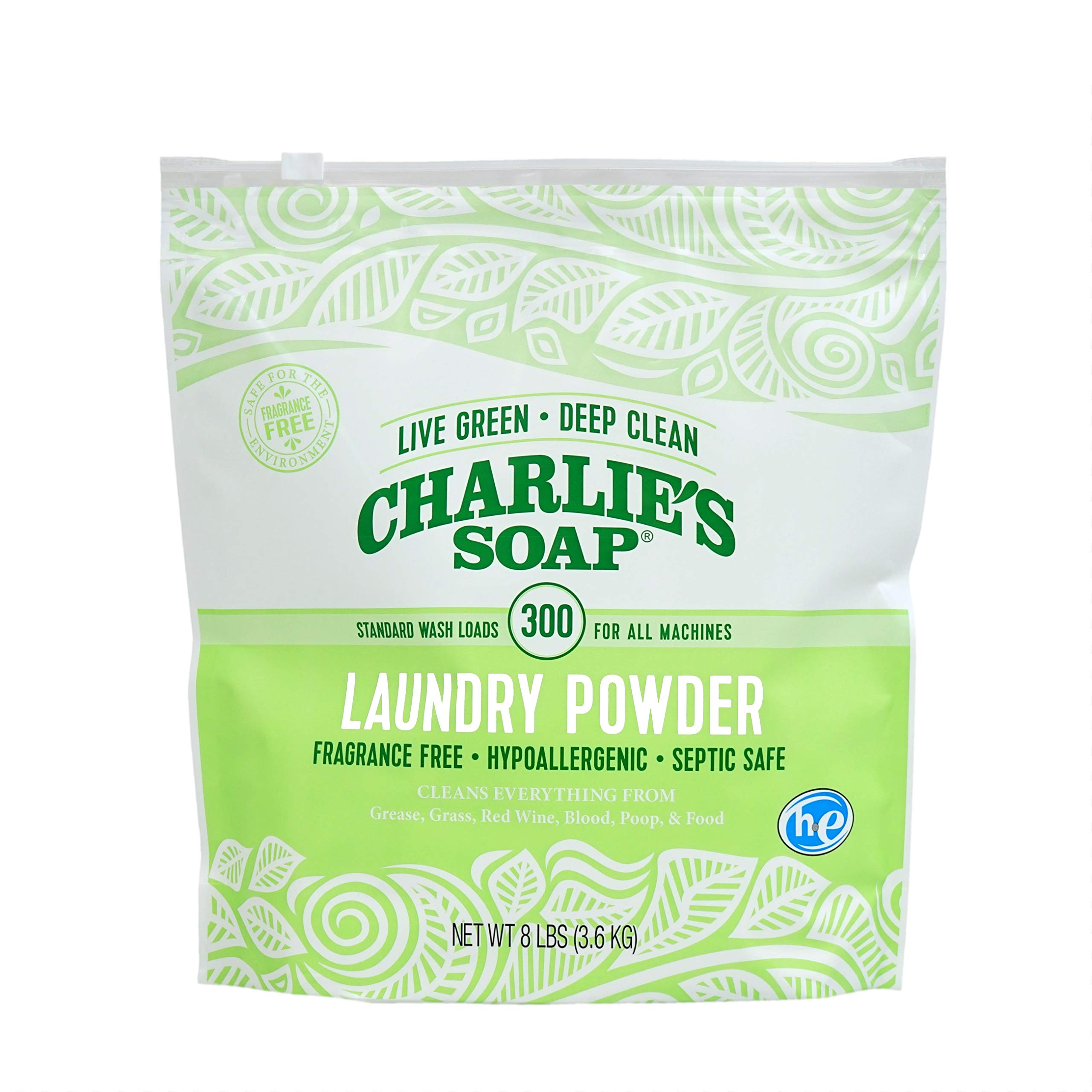 Charlie's Soap - Fragrance Free Powder Laundry Detergent - 300 Loads (8 lbs, 1 Pack) by Charlie's Soap (Image #3)
