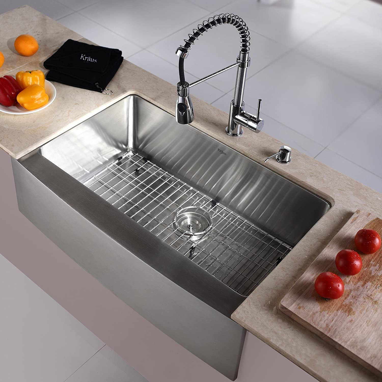 Kraus KHF200-33-KPF1612-KSD30CH 33 inch Farmhouse Single Bowl Stainless Steel Kitchen Sink with Chrome Kitchen Faucet and Soap Dispenser