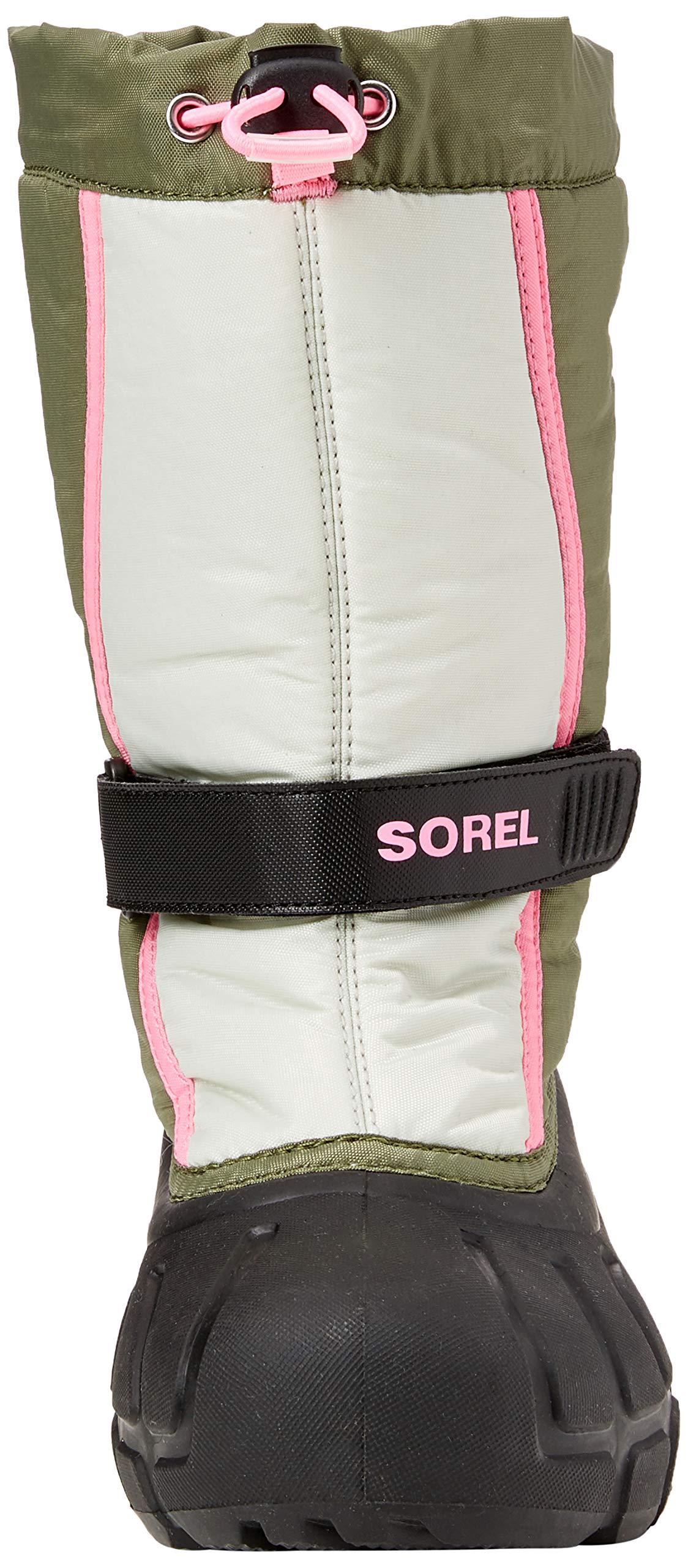 Sorel Girls' Youth Flurry Snow Boot, Hiker Green, Bubblegum, 5 M US Big Kid by Sorel (Image #4)