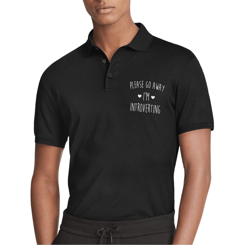 WYFEN Mens Printed Polo Shirt Please Go Away Im Introverting Heart Fashion Short Sleeve T-Shirt