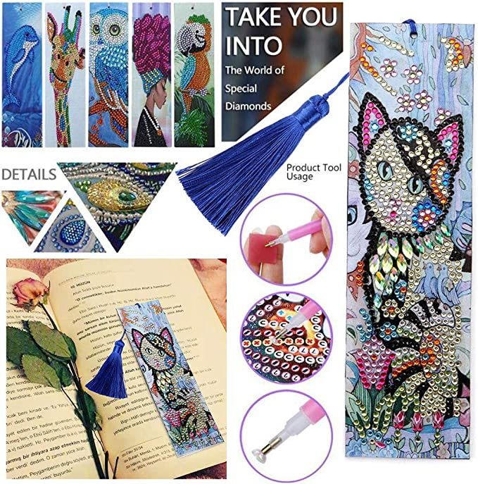 Mousmile DIY Mini Diamond Painting with Tassel for Bookmarks Wall Decor 15 Multi Pattern Collection,Great Idea for Friendship Gift,Household Wall Sticker Hanging,Student Bag Pendant Birds