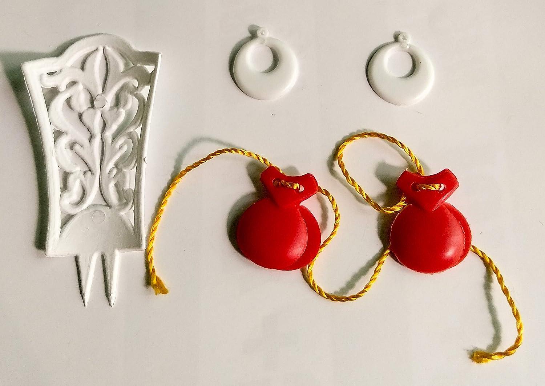 Folk Artesanía Complementos Flamenca peineta, Pendientes y castañuelas para muñeca Barbie o Barriguitas (Rojo)