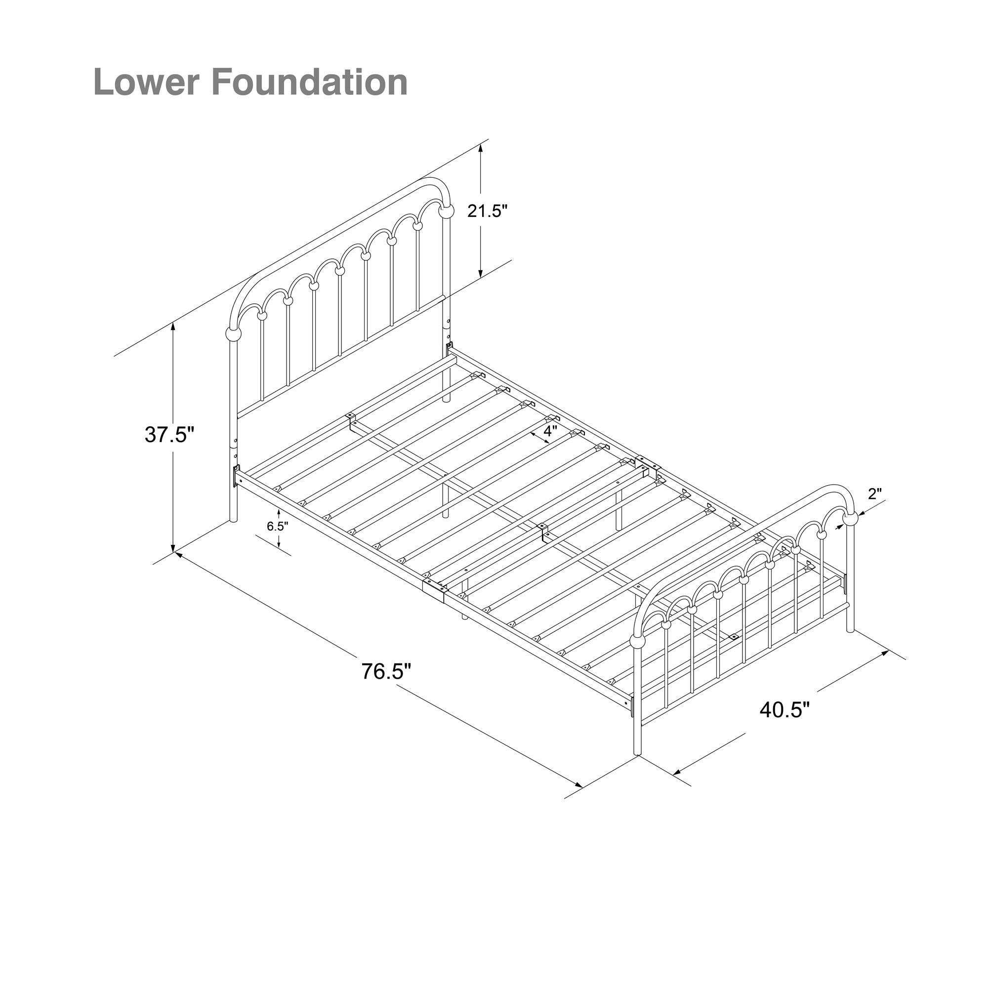 Novogratz Bright Pop Metal Bed, Adjustable Height for Underbed Storage (6.5'' or 11''), Metal Slats Included, Twin, Turquoise