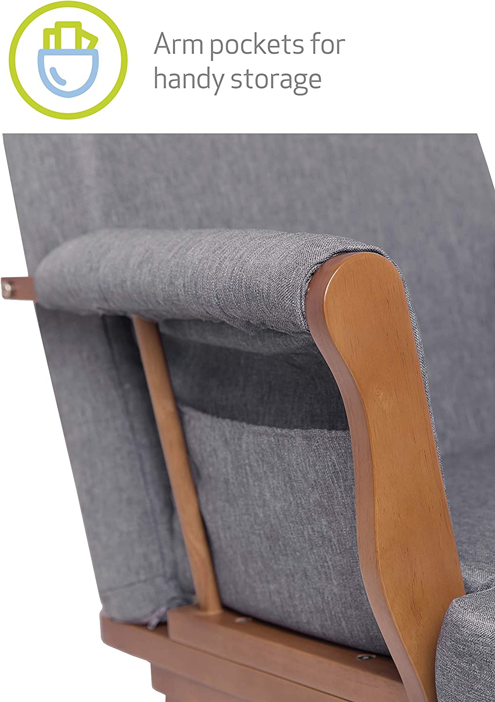 movimiento oscilante suave Kub/® Haldon mecedora de enfermer/ía f/ácil de montar base de madera maciza oscura oscura Cojines acolchados con bolsillo de almacenamiento