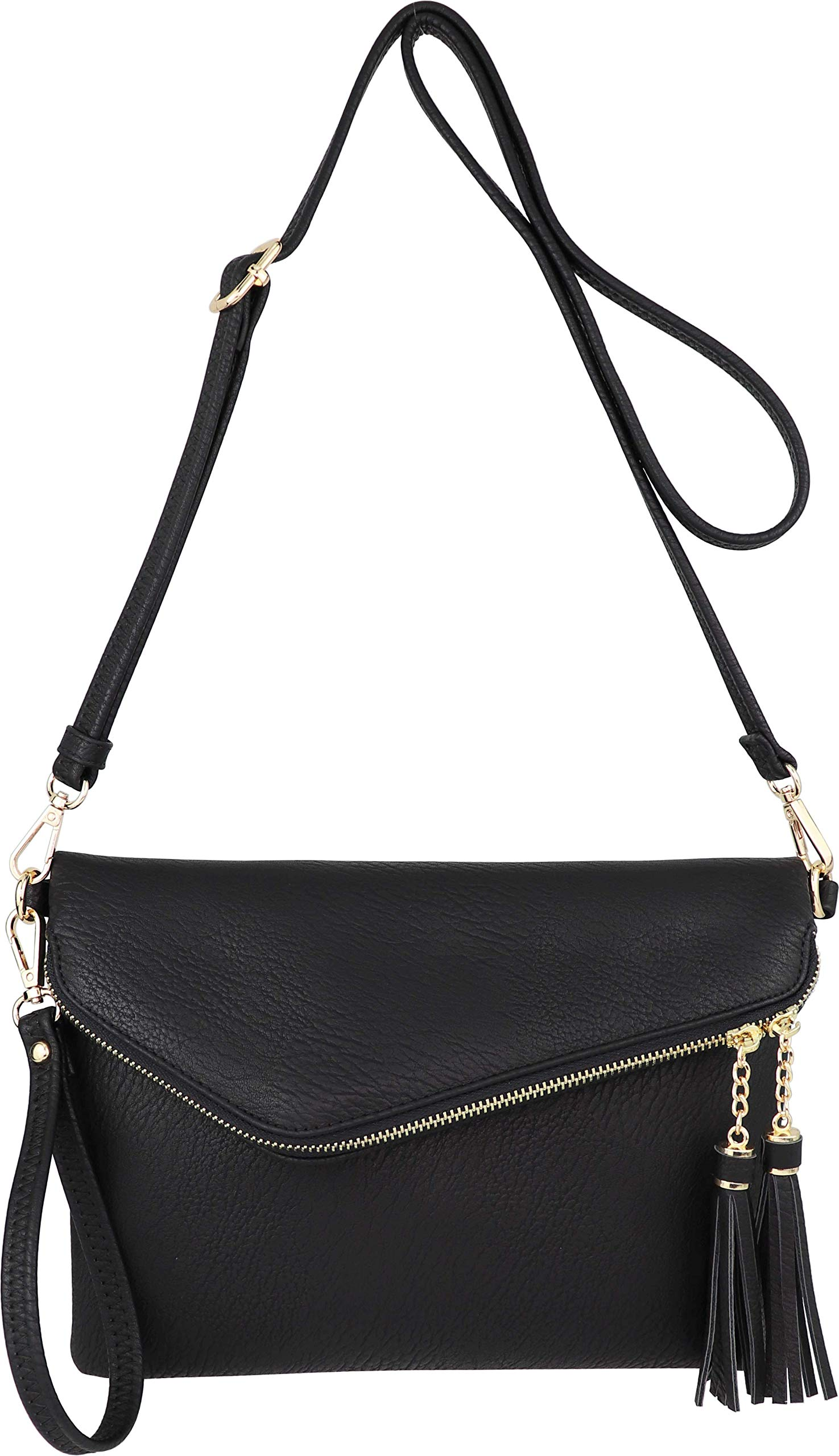 Fold-Over Envelope Wristlet Clutch Crossbody Bag with Tassel Accents (Black.)