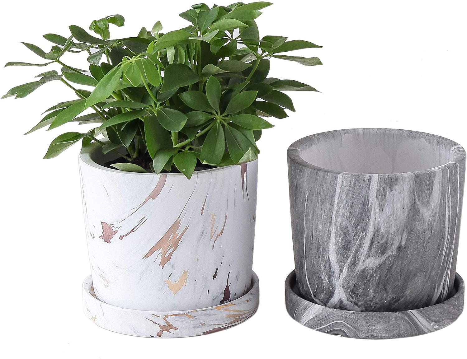 JODA 5.9 inch Planter Pots, Flower Pots with Detached Saucer, Indoor Plant Pots with Drainage - Set of 2 (Grey & Carrara Gold Marble Pattern)