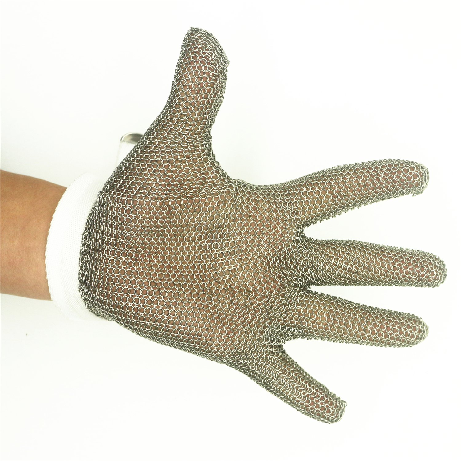Inf-way 304L Brushed Stainless Steel Mesh Cut Resistant Chain Mail Gloves Kitchen Butcher Working Safety Glove As Seen On TV 1pcs SSG001 Medium