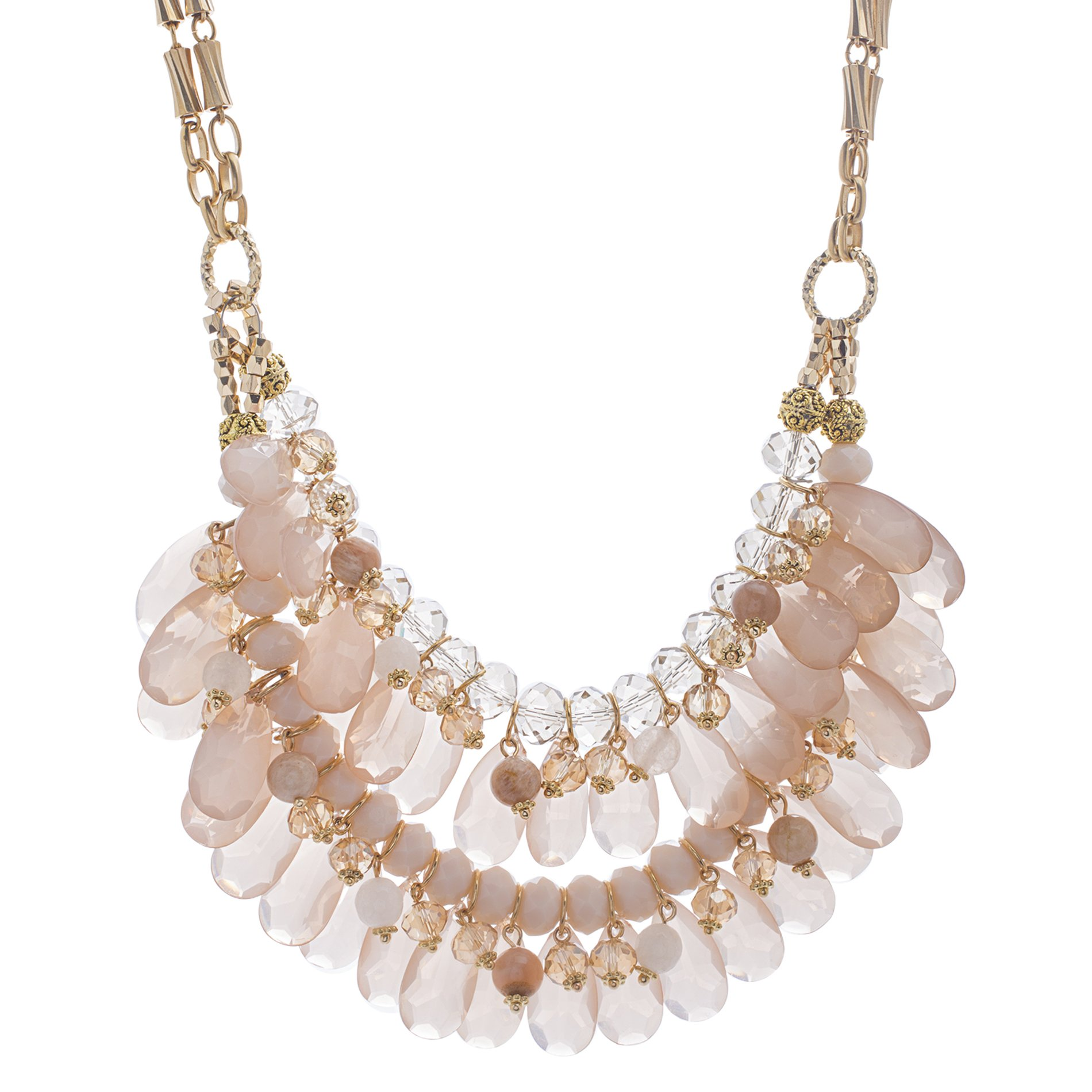 Catherine Malandrino Women's 18-26'' Pink Beaded Layered Style Yellow Gold-Tone Necklace