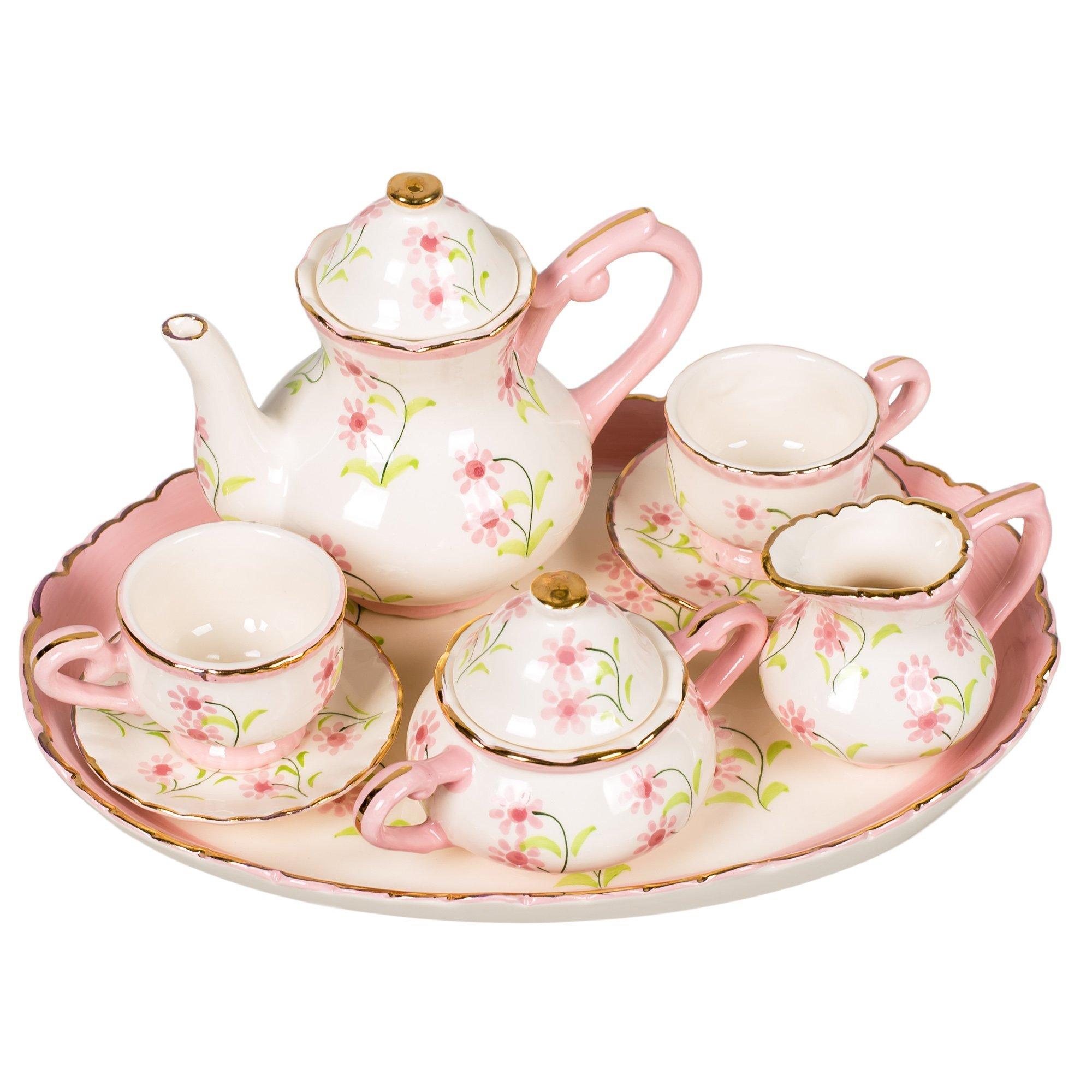 Pink and White Flower Sprigs Design White Porcelain Children's Tea Party Set