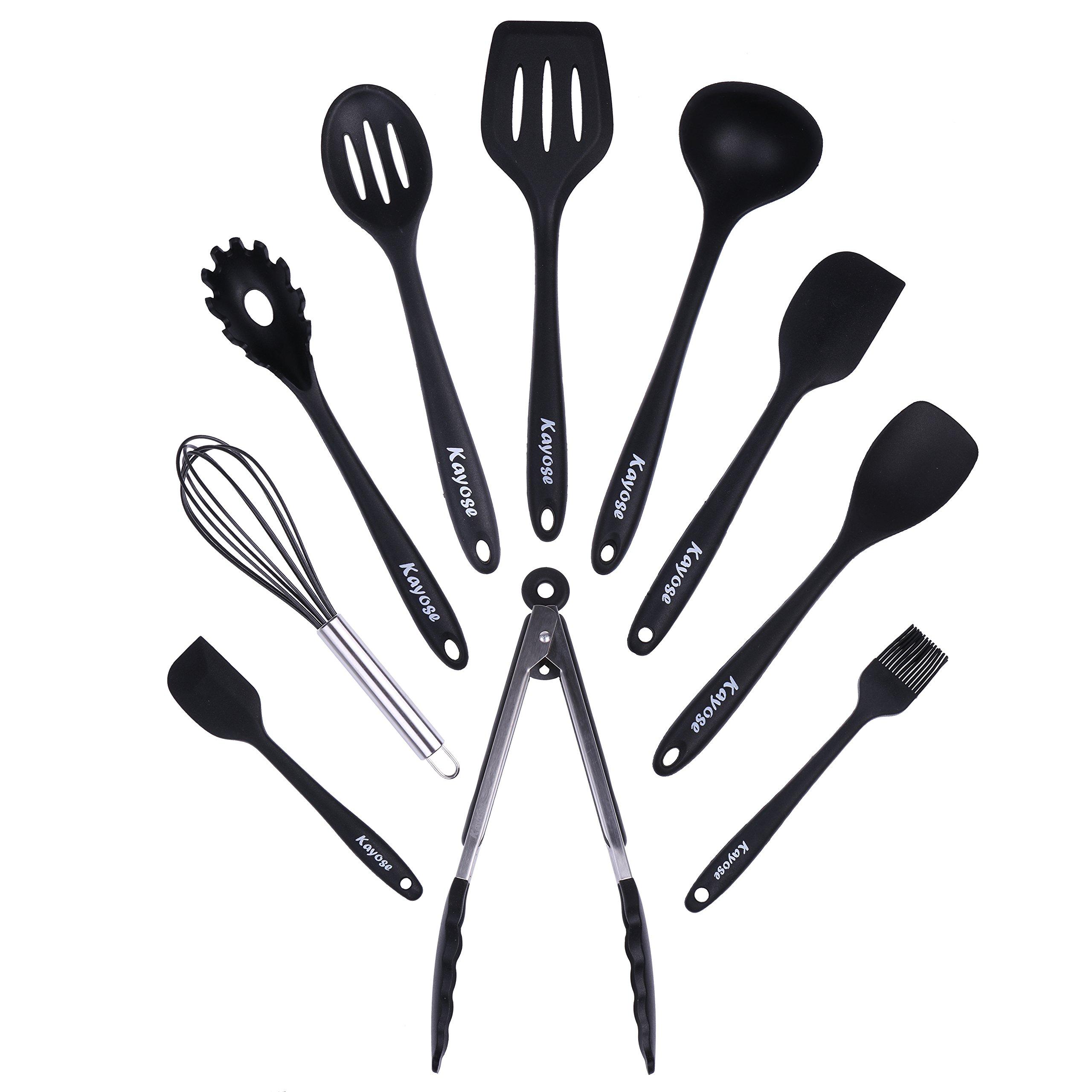 Kayose Premium Silicone Kitchen Utensil Set - 10-Piece Heat Resistant Non-Scratch Cooking Essential Accessories Bundle - Great for Cooking & BBQ - Ergonomic Handle Design - Classic Black