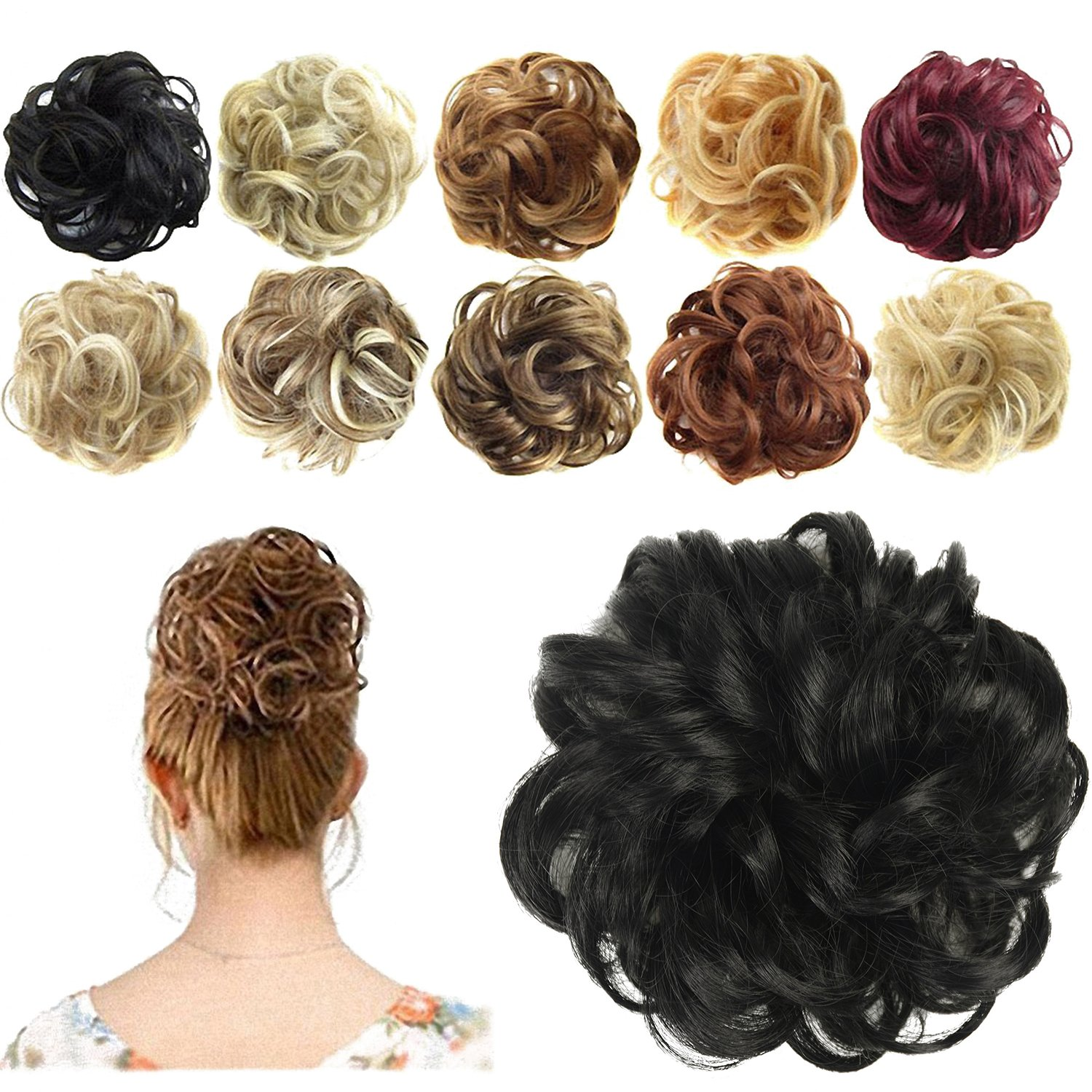 Amazon.com  FESHFEN Synthetic Hair Bun Extensions Messy Hair Scrunchies Hair  Pieces for Women Hair Donut Updo Ponytail  Clothing 6afef31e2