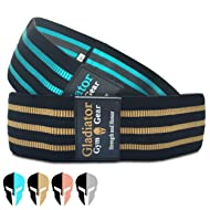 GLADIATOR GYM GEAR Fabric Resistance Bands - Booty Glute Bands - Squat Bands for Working Out - 2 Pack Hip Band- Resistance Loops, Thick Resistance Bands for Legs and Butt, Cloth Resistance Bands