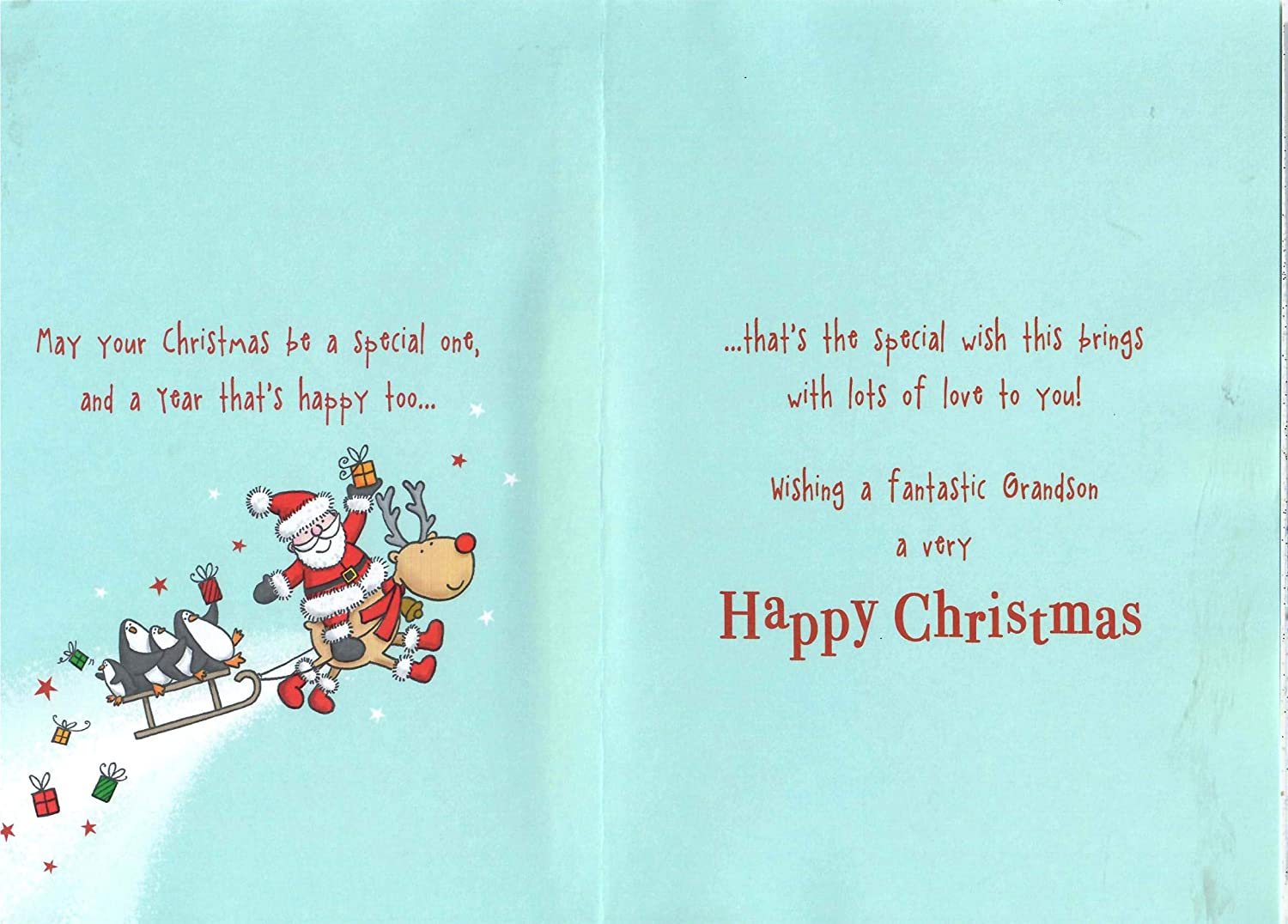 Piccadilly Greetings Traditional Christmas Card Grandson 9 x 6 inches