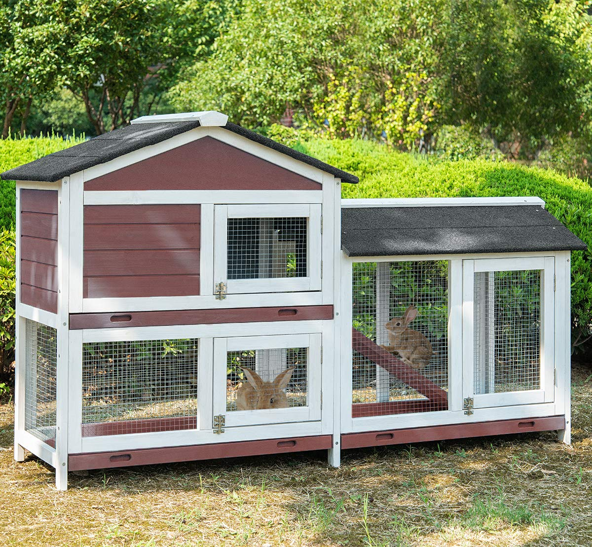 Purlove Pet Rabbit Hutch Wooden House Chicken Coop for Small Animals (Rabbit Hutch #4) by Purlove (Image #2)