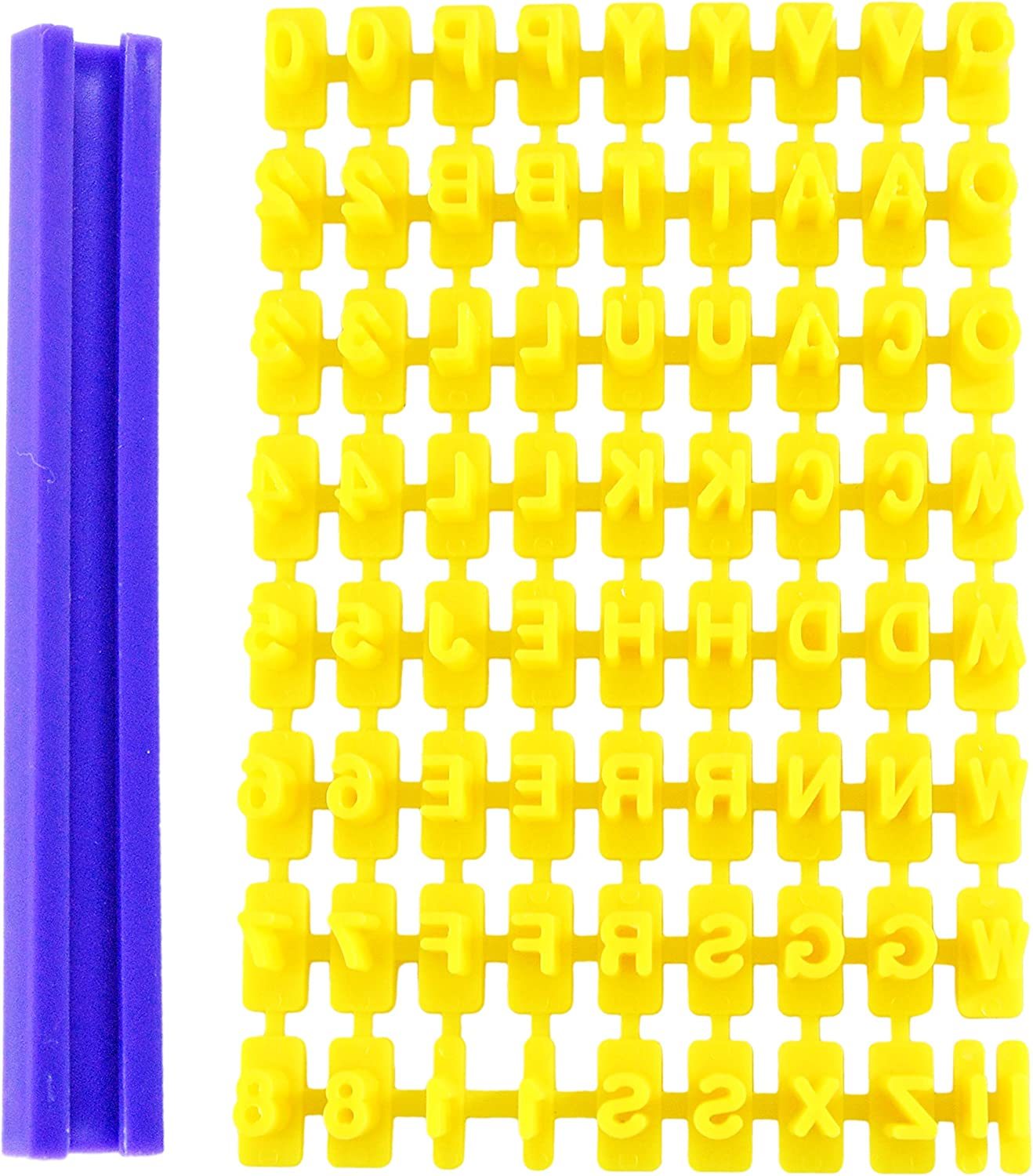 "HOME-X Cookie Stamp, Letter and Number Stamps for Decorating Cookies, Cake, and Fondant, Baking Tool- Yellow and Purple- Each ¼"" L"