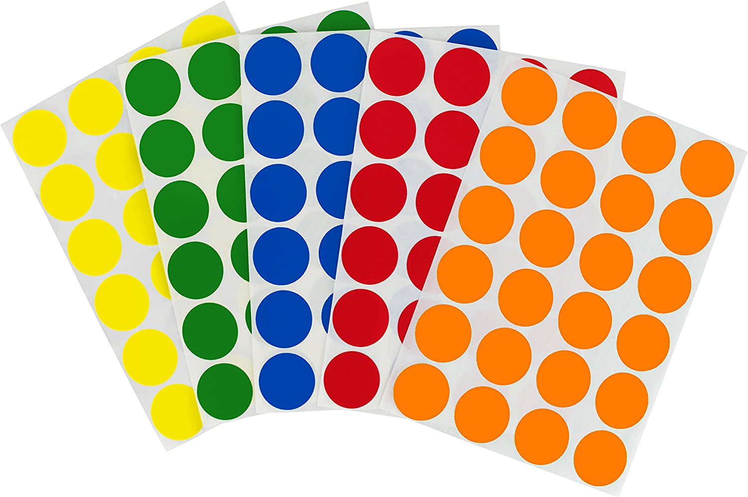 ChromaLabel 3/4 inch Removable Color-Code Dot Label Kit, 5 Assorted Standard Colors, 1200/Pack
