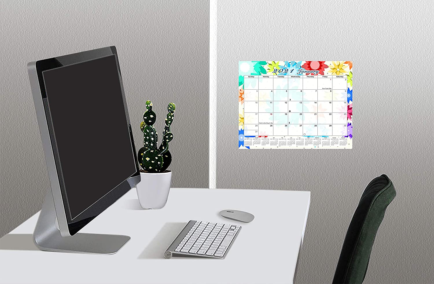 Edition #07-01 2020-2021 Monthly Magnetic//Desk Calendar 16 Months Desktop//Wall Calendar//Planner