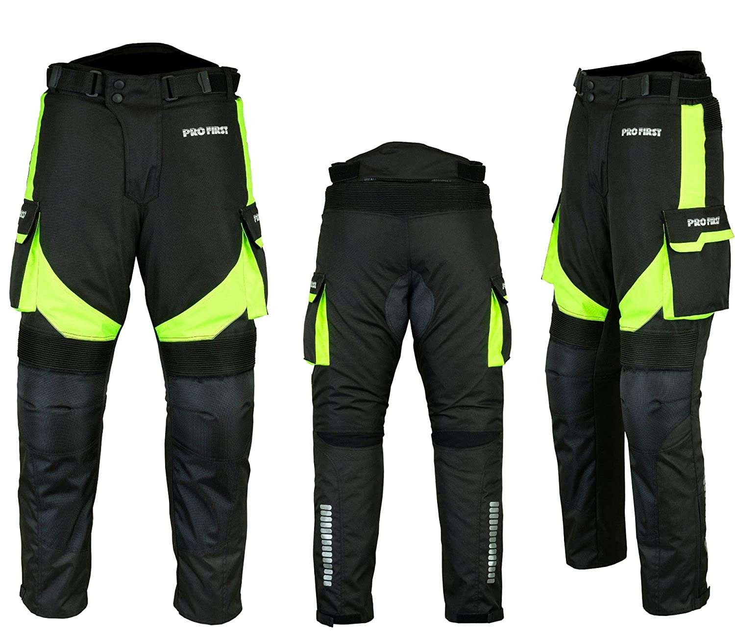 PROFIRST TR-001 Long Length Inside Leg 32 inch Green - XS to 4XL Removable Lining CE Approved Armoured Motorbike Motorcycle Trouser Pant Waterproof Big Pocket Design