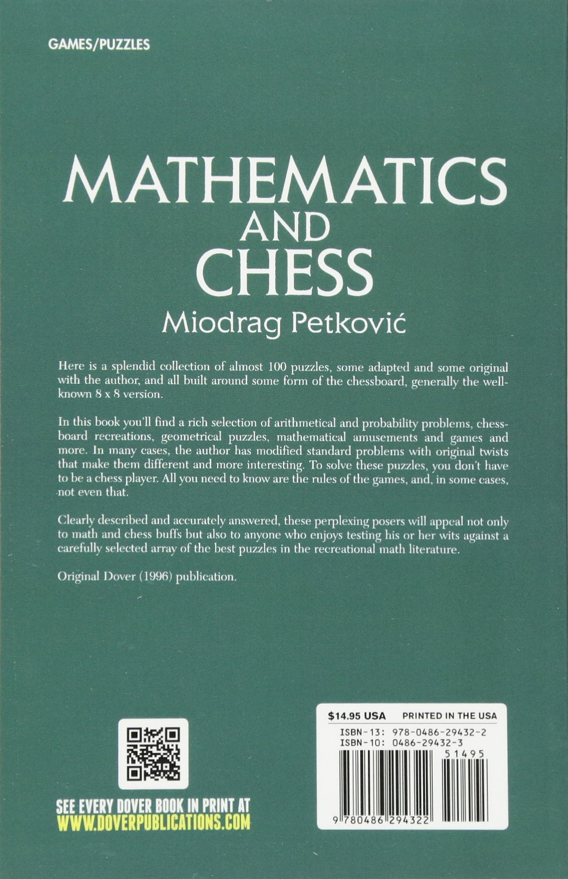 Mathematics and Chess (Dover Recreational Math): Miodrag Petkovic ...