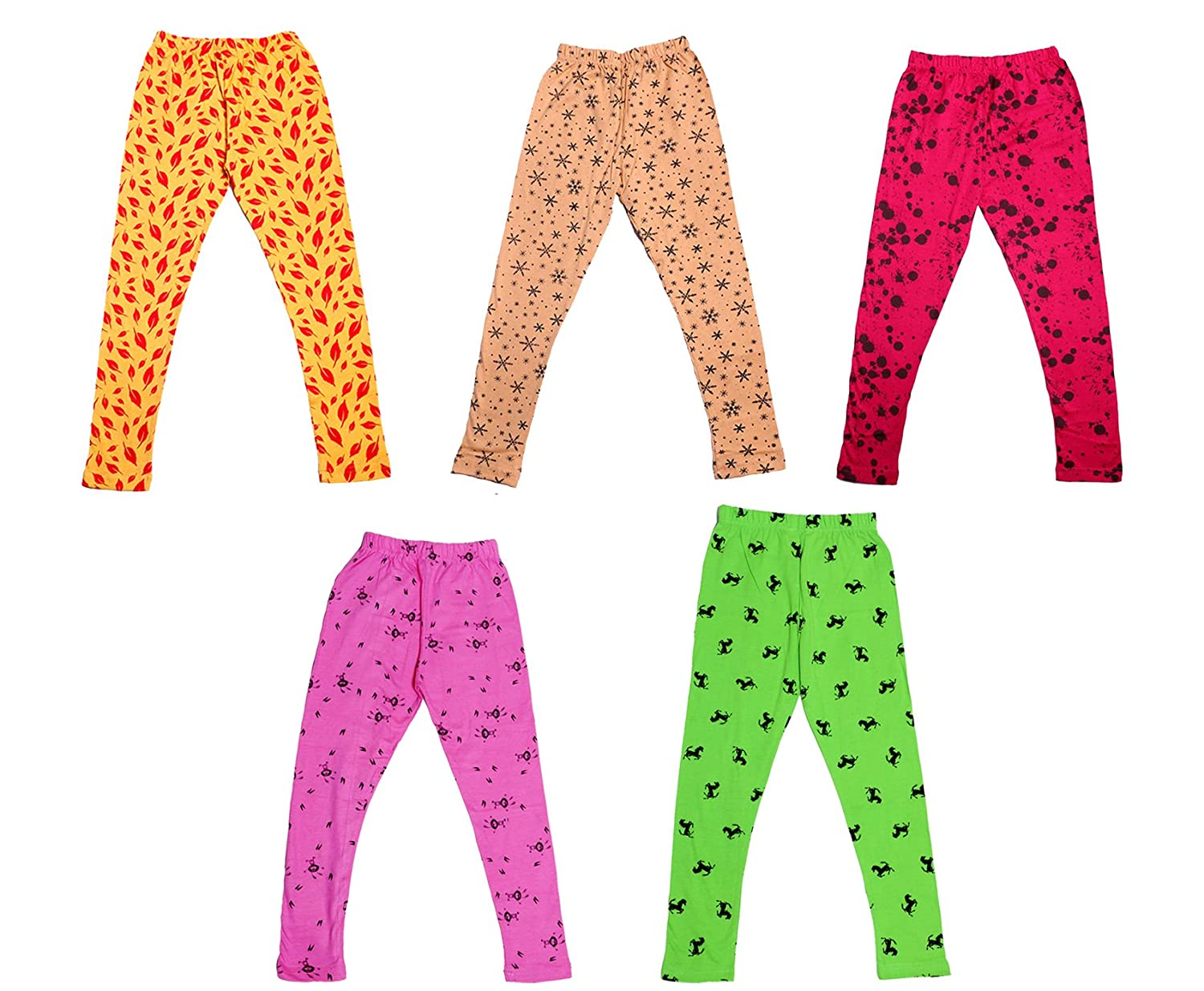 Indistar IndiWeaves Girls Super Soft and Stylish Cotton Printed Legging Pack Of 5