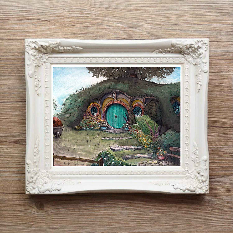 Bag End Artwork | Hobbit Hole | Bilbo Baggin's door | Lord of the Rings Watercolor | Giclee Art Print by The Tattered Traveler