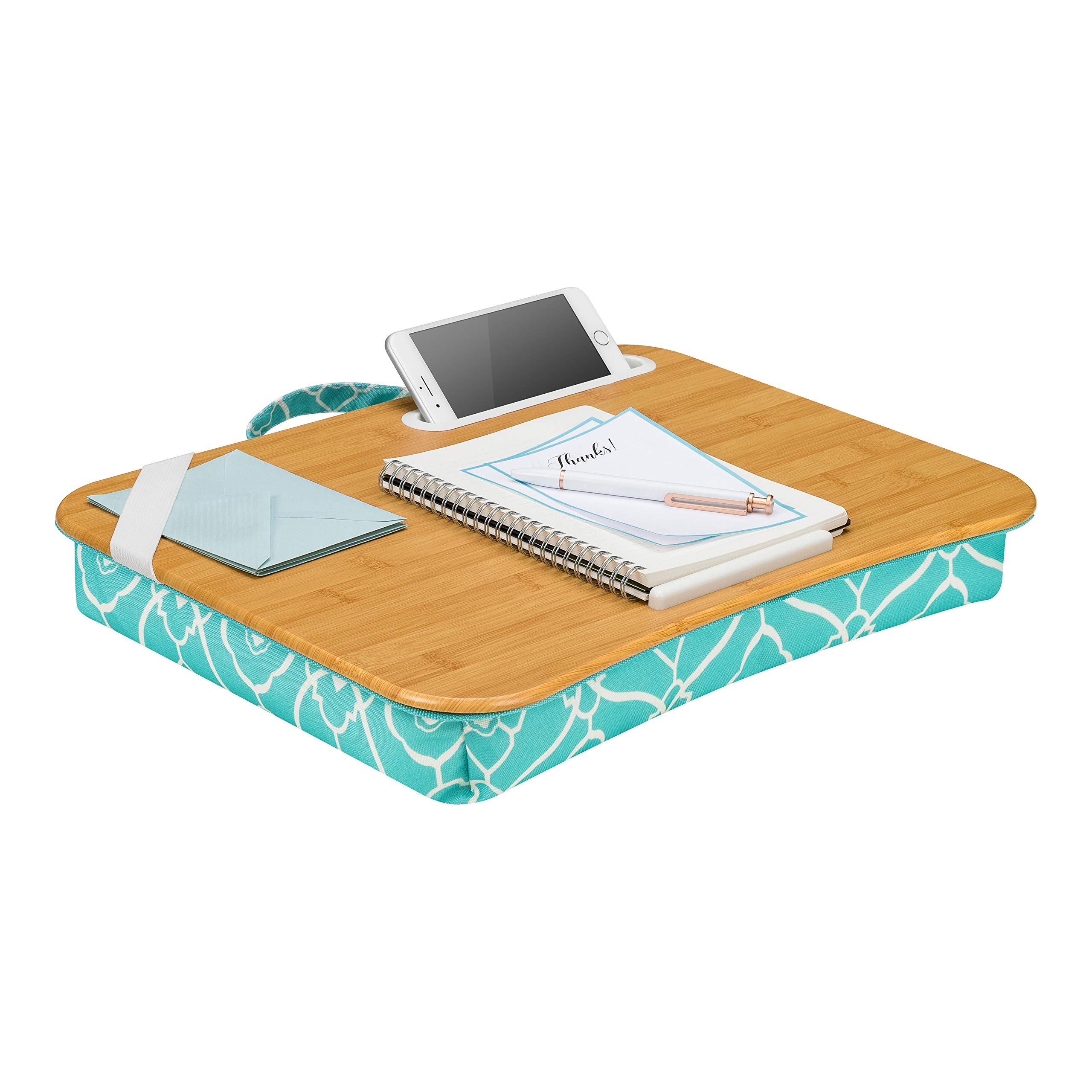 LapGear Designer Lap Desk with Phone Holder and Device Ledge - Aqua Trellis - Fits up to 15.6 Inch Laptops - Style No. 45422 by LapGear