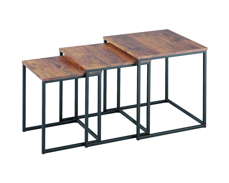 Wooden Tops//Steel Black Legs Wood ASPECT Alana Set of 3 Nesting Table Vintage