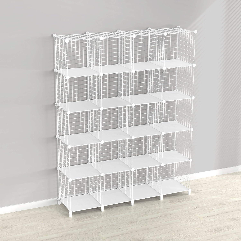 SIMPDIY Estantería de 20 cubos para montar en casa y sistema de almacenamiento modular con marco de alambre, color blanco