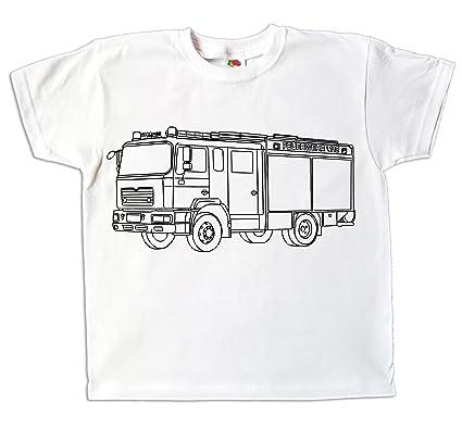 773ae3093a8de Kinder T-Shirt Feuerwehr Feuerwehrauto zum bemalen und ausmalen mit Vordruck  Kindergeburtstag Kindergarten für Jungen