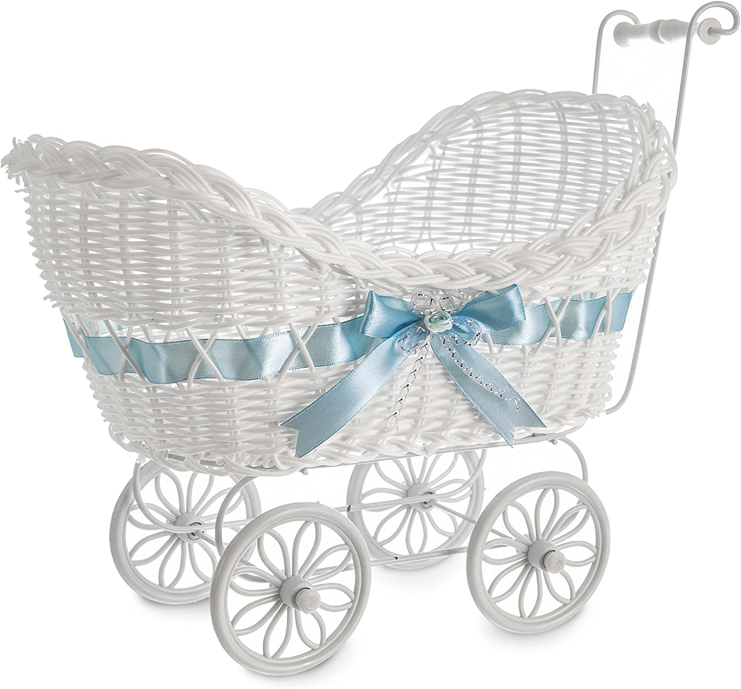 Blue LIVIVO White Baby Pram Wicker Hamper Basket with Handles Wheels and Colourful Satin Ribbon Bow Perfect for Baby Showers or Newborn Baby Gifts