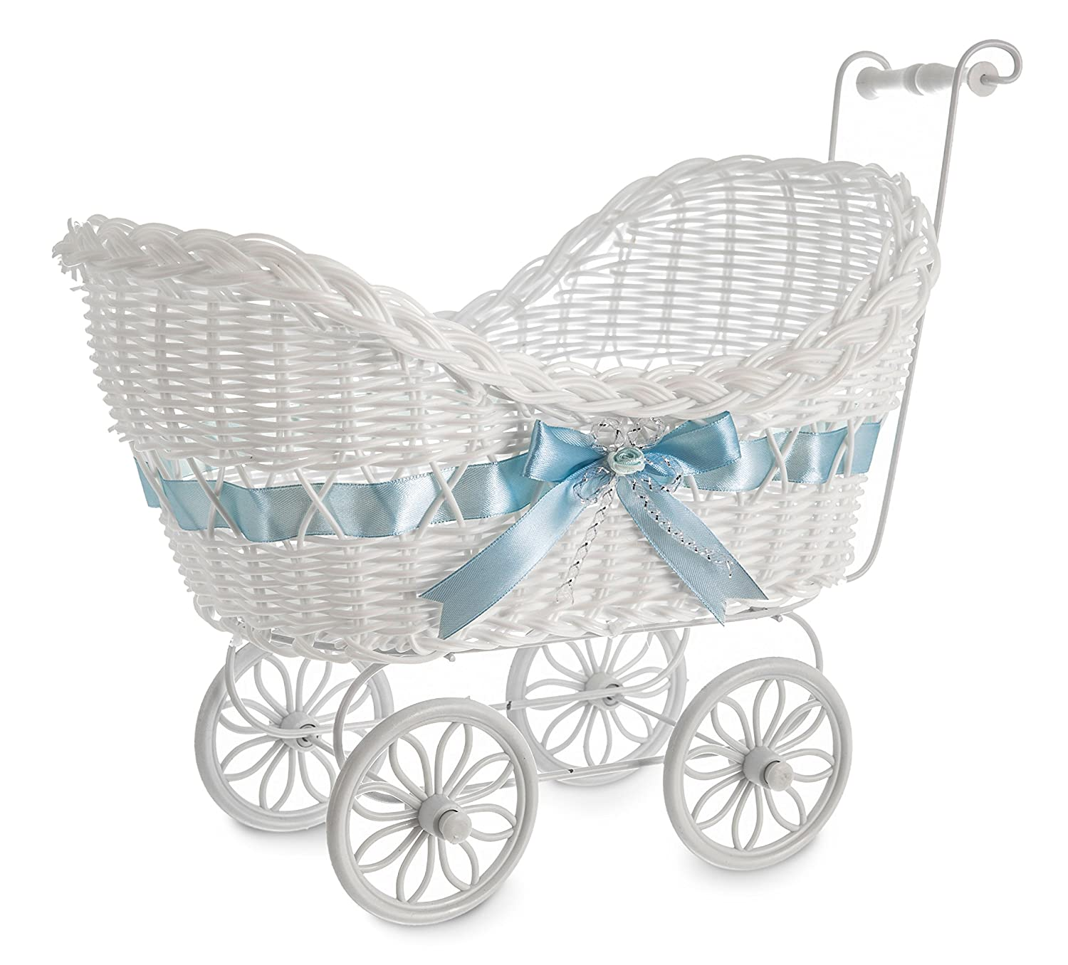 LIVIVO ® White Baby Pram Wicker Hamper Basket with Handles, Wheels and Colourful Satin Ribbon Bow - Perfect for Baby Showers or Newborn Baby Gifts - Beautiful and Stylish Multipurpose Baskets can also be used for Storage or Decoration in Any Room in the H