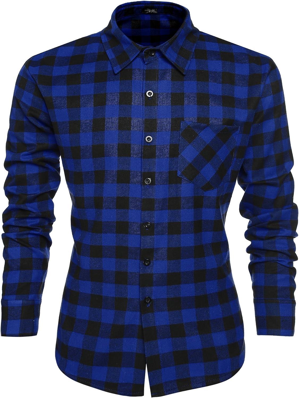 Coofandy Camisa Hombre Manga Larga a Cuadros Multicolores Botón Bolsillo Casual