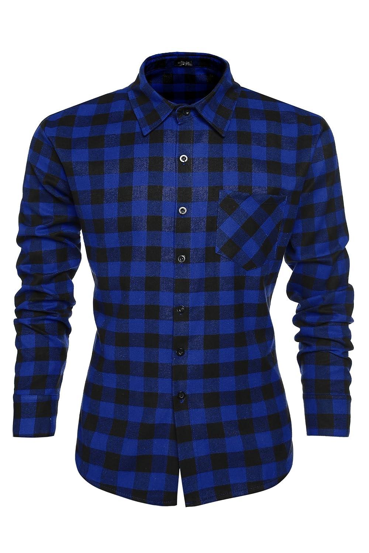 TALLA M. Coofandy Camisa Hombre Manga Larga a Cuadros Multicolores Botón Bolsillo Casual