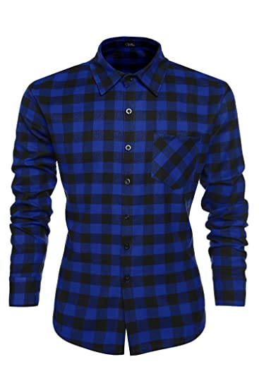 2e12fe30829 Coofandy Chemise Homme à Carreaux Manche Longue Coton Casual Slim Fit Col  Italien Bleu Foncé Taille