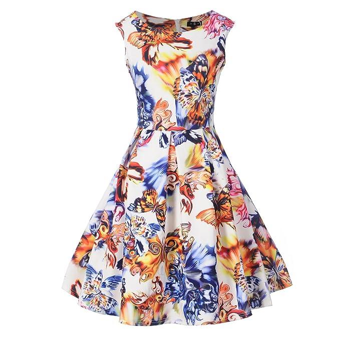 ZAMME Vestidos Rockabilly Robe Floral Print Vintage Swing para mujer: Amazon.es: Ropa y accesorios