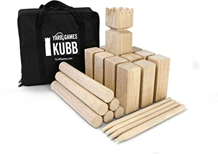Wooden Outdoor Scatter Yard Game 12 Numbered Pins with Wooden Case Premium Hardwood Family Lawn Games Throwing Dowel for All Ages