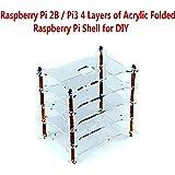 Raspberry Pi 2B / Pi3 4 Layers of Acrylic Folded Raspberry Pi Shell for DIY, Access to All Pi Raspberry Pi 3,2 B & B+ Consumer Ports, GSI, Camera, GPIO Connectors.