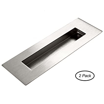 Flush Door Pull For Pocket Doors 2 Pack   Recessed Finger Pulls Stainless  Steel With Satin