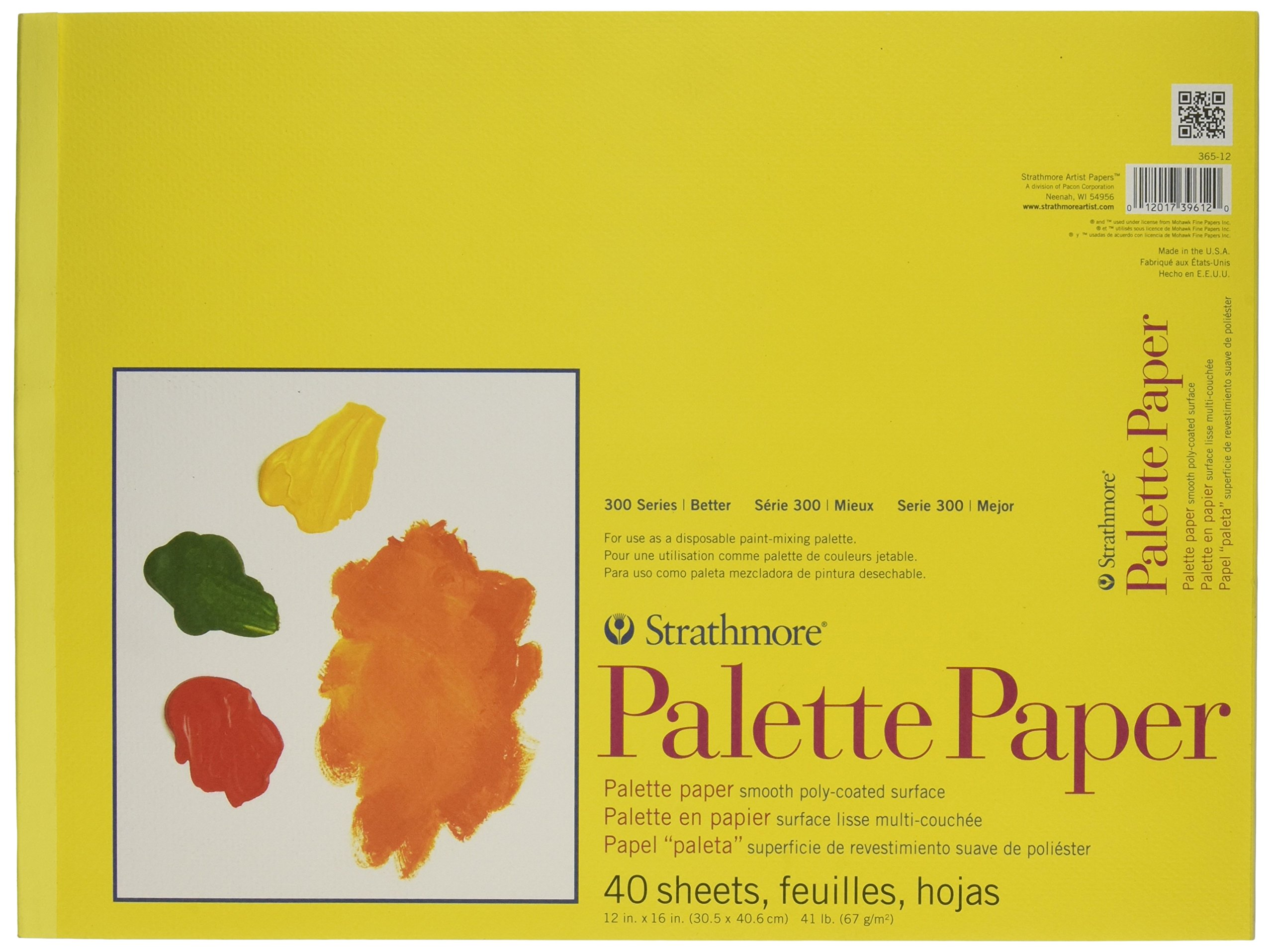 Strathmore 365-12 300 Series Paper STR-365-12 40 Sheet Disposable Palette, 12 by 16'', 12''x16'', White by Strathmore