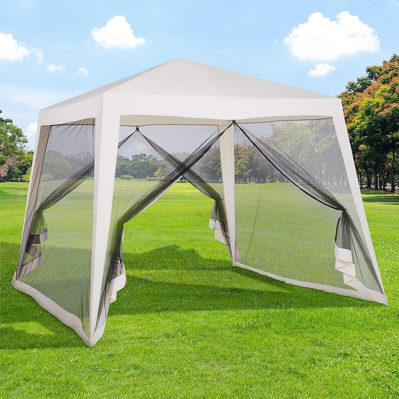 Outsunny Carpa Pabellón de Jardín 3x3x2.35m Carpa con Mosquitero Exterior Gazebo de Acero Poliéster al Aire Libre Color Beige: Amazon.es: Jardín