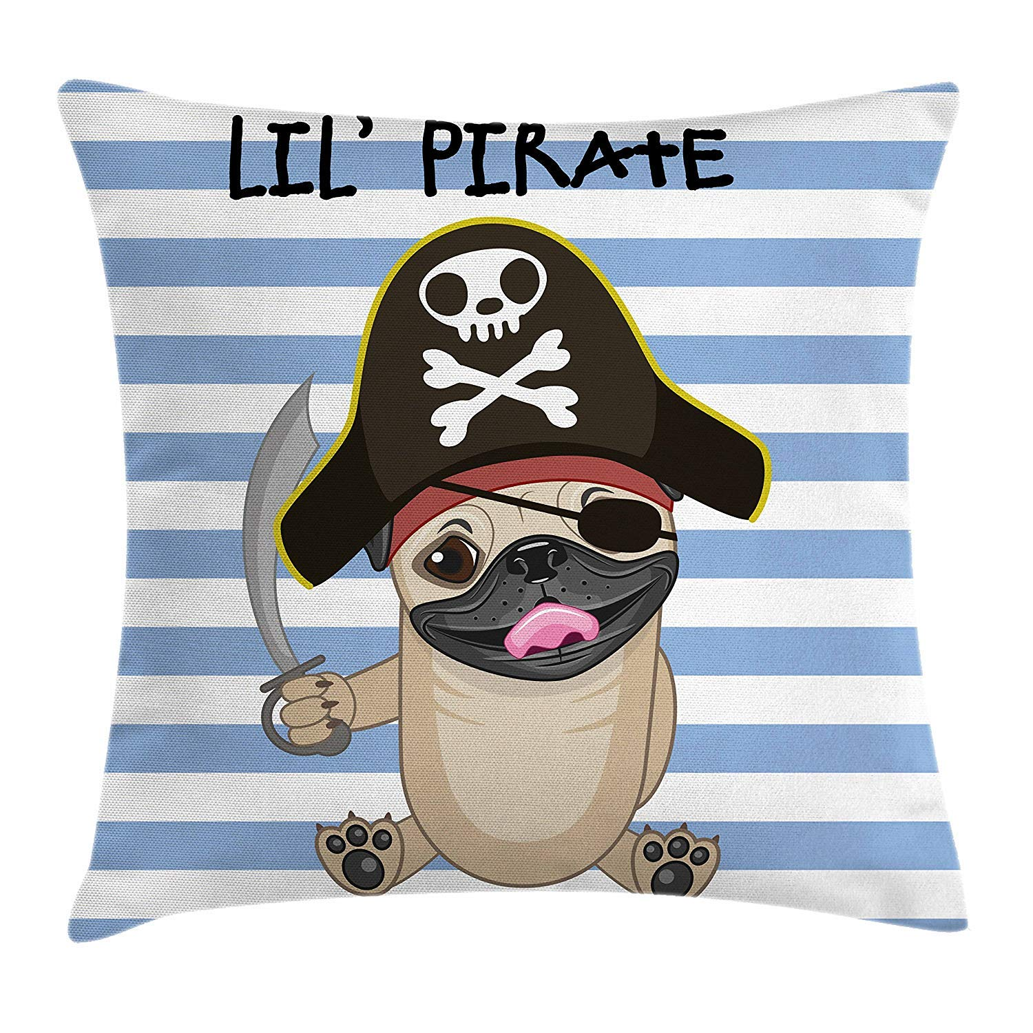 Pirate Throw Pillow Cushion Cover, Buccaneer Dog in Cartoon Style Costume Lil Pirate Striped Backdrop Funny Animal, Decorative Square Accent Pillow Case, 18 X 18 inches, Multicolor