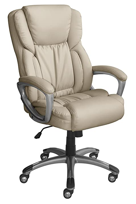 Serta Works Executive Office Chair, Bonded Leather, Beige