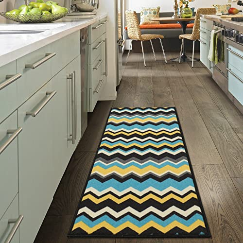 Ottomanson Studio Collection Chevron Waves Design Runner Rug, 20 X 59 , Blue Grey