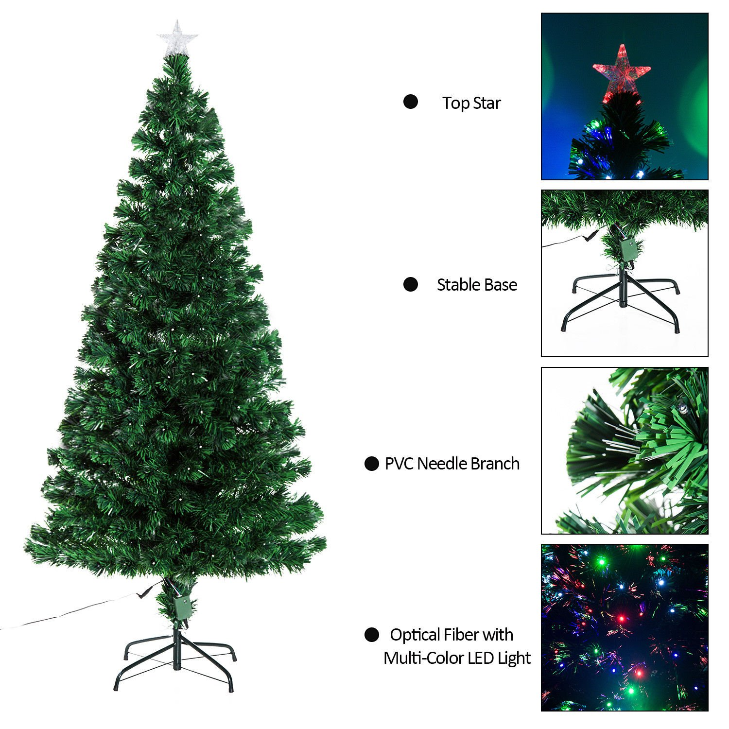 Amazon.com: HOMCOM 7\' Tall Pre-Lit Artificial Fiber Optic LED Lit ...